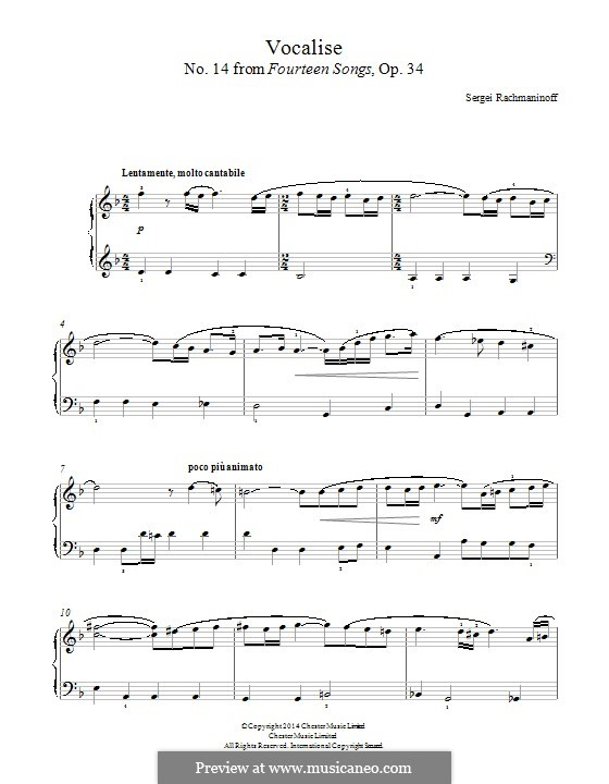 Vocalise, Op.34 No.14: Para Piano by Sergei Rachmaninoff