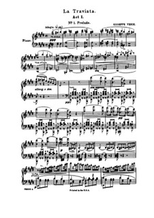 Fragments: Act I No.1 Prelude, for piano by Giuseppe Verdi