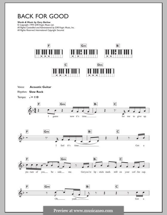 Back for Good (Take That): para teclado by Gary Barlow