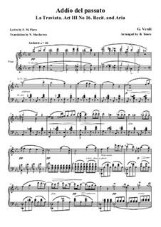 Addio del passato: para solistas,coral e piano by Giuseppe Verdi