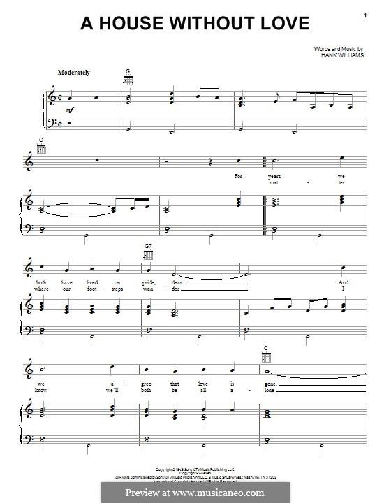 A House without Love: Para vocais e piano (ou Guitarra) by Hank Williams