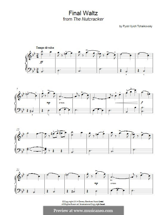 No.15 Final Waltz and Apotheosis: arranjos para piano (Fragmento) by Pyotr Tchaikovsky
