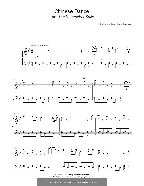 No.6 Chinese Dance: Para Piano by Pyotr Tchaikovsky