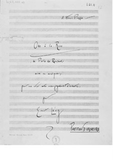 Ode à la rose for Voice and Orchestra: Partitura completa by Ernst Levy