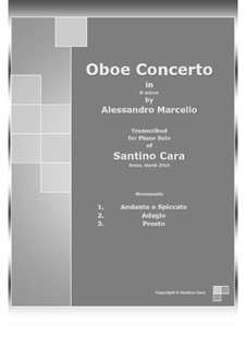 Concerto for Oboe and Stings in D Minor, Op.2: Version for piano solo by Alessandro Marcello
