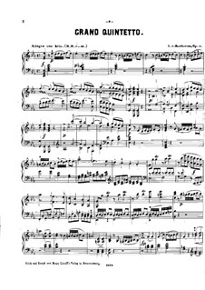 String Quintet No.1 in E Flat Major, Op.4: versão para piano by Ludwig van Beethoven