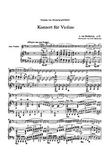 Concerto for Violin and Orchestra in D Major, Op.61: Version for piano and violin by C. Reinecke by Ludwig van Beethoven