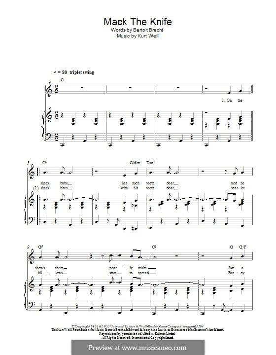 Mack the Knife: Para vocais e piano by Kurt Weill
