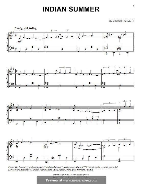 Indian Summer: Para Piano by Victor Herbert