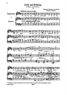 Six Songs, Op.3: No.2 Liebe und Frühling (Love and Spring) by Johannes Brahms