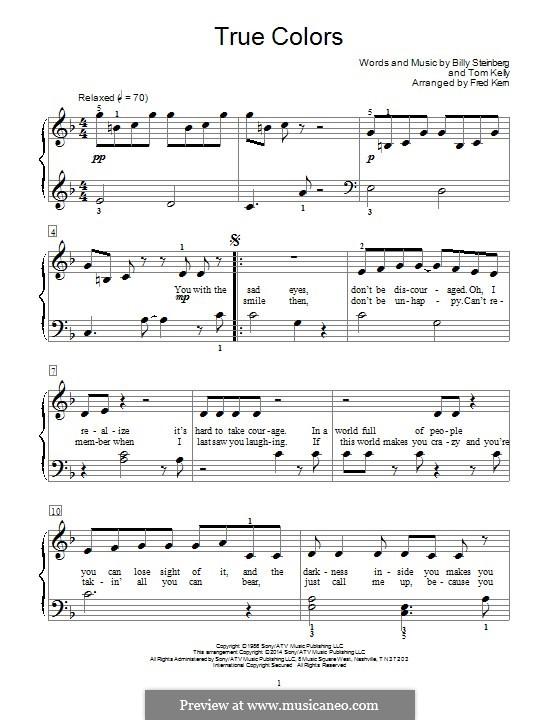 True Colors: Para Piano by Billy Steinberg, Tom Kelly