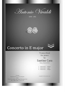 Concerto for Violin and Strings No.12 in E Major, RV 265: arranjo para piano by Antonio Vivaldi