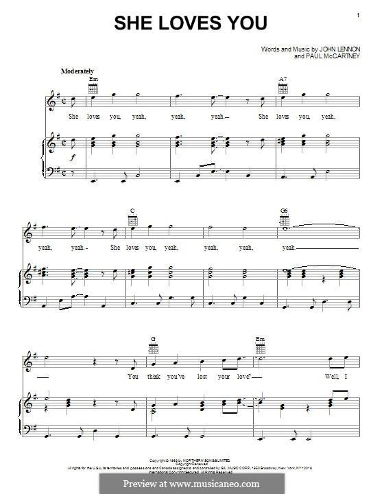 She Loves You (The Beatles): Para vocais e piano (ou Guitarra) by John Lennon, Paul McCartney