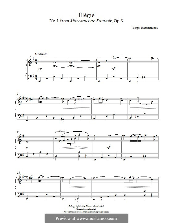 Morceaux de fantaisie, Op.3: No.1 Élégie by Sergei Rachmaninoff