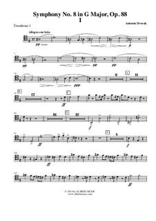 Movement I: Trombone Tenor Clef 1 (Transposed Part) by Antonín Dvořák