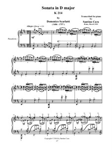 Sonata No.165 in D Major, K.214 L.165 P.430: Para Piano by Domenico Scarlatti