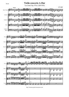 La Cetra (The Lyre). Twelve Violin Concertos, Op.9: No.2 Concerto in A Major – score and all parts, RV 345 by Antonio Vivaldi
