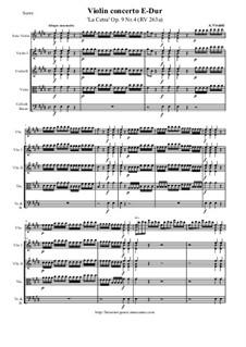 La Cetra (The Lyre). Twelve Violin Concertos, Op.9: No.4 Concerto in E Major – score and all parts, RV 263a by Antonio Vivaldi