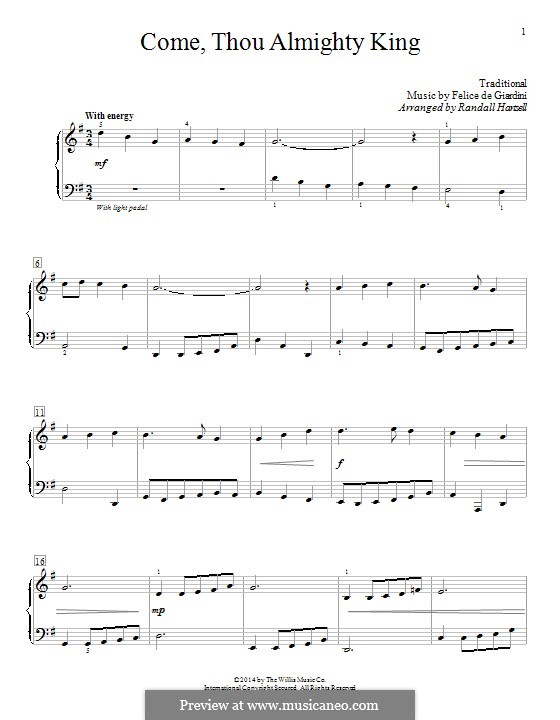 Come, Thou Almighty King: Para Piano by Felice Giardini