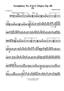 Movement IV: Trombone Bass Clef 1 (Transposed part) by Antonín Dvořák