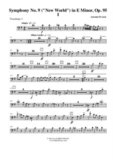 Movement I: Trombone bass clef 1 (transposed part) by Antonín Dvořák