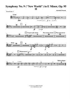 Movement II (Largo): Trombone tenor clef 1 (transposed part) by Antonín Dvořák