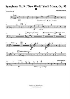 Movement II (Largo): Trombone bass clef 1 (transposed part) by Antonín Dvořák
