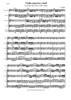 La Cetra (The Lyre). Twelve Violin Concertos, Op.9: No.11 Concerto in C Minor – score and all parts, RV 198a by Antonio Vivaldi