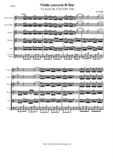 La Cetra (The Lyre). Twelve Violin Concertos, Op.9: No.9 Concerto in B Flat Major – score and all parts, RV 530 by Antonio Vivaldi