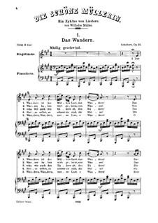 No.1 Das Wandern (Wandering): para voz media e piano by Franz Schubert