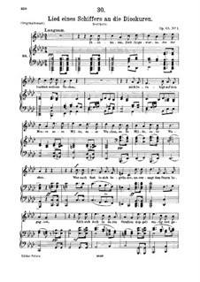 Lied eines Schiffers an die Dioskuren (Boatman's Song to the Dioscuri), D.360 Op.65 No.1: para voz media e piano by Franz Schubert