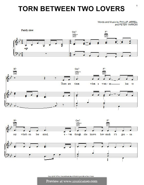 Torn Between Two Lovers: Para vocais e piano (ou Guitarra) by Peter Yarrow, Phillip Jarrell