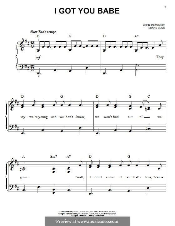 I Got You Babe (Sonny & Cher): Para Piano by Sonny Bono