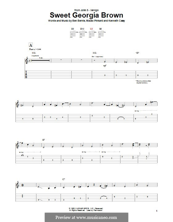 Sweet Georgia Brown: For guitar with tab (John 5) by Maceo Pinkard, Kenneth Casey