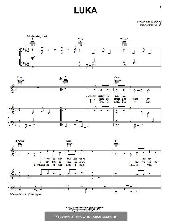 Luka: Para vocais e piano (ou Guitarra) by Suzanne Vega