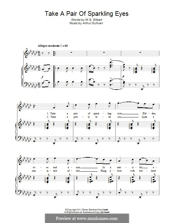 Take a Pair of Sparkling Eyes: Para vocais e piano by Arthur Seymour Sullivan