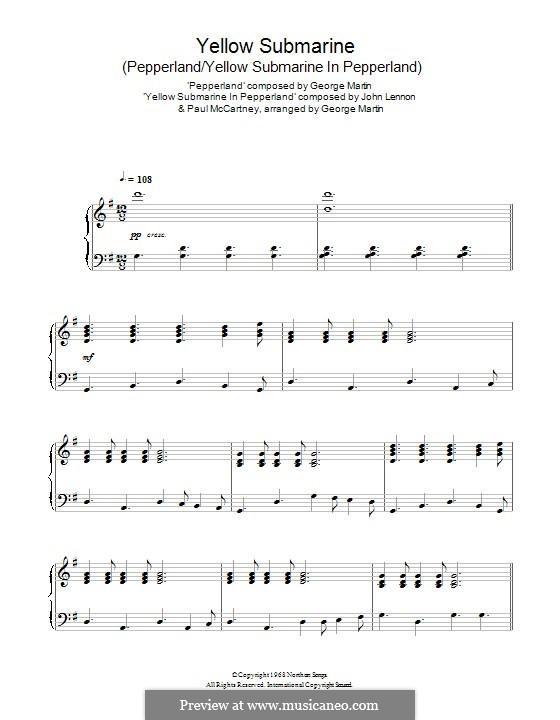 Yellow Submarine (The Beatles): Para Piano by John Lennon, Paul McCartney