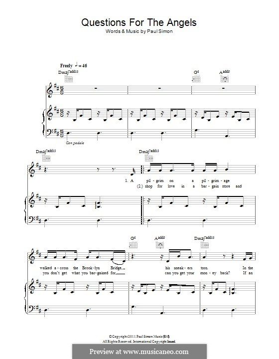 Questions for the Angels: Para vocais e piano (ou Guitarra) by Paul Simon