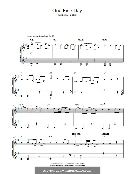 One Fine Day: Para Piano by Giacomo Puccini