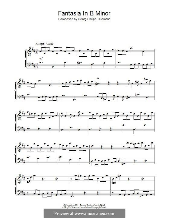 Fantasia in B Minor: Para Piano by Georg Philipp Telemann