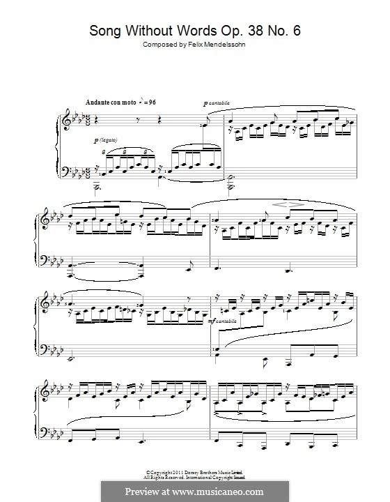 Songs without Words, Op.38: No.6 Andante con moto by Felix Mendelssohn-Bartholdy