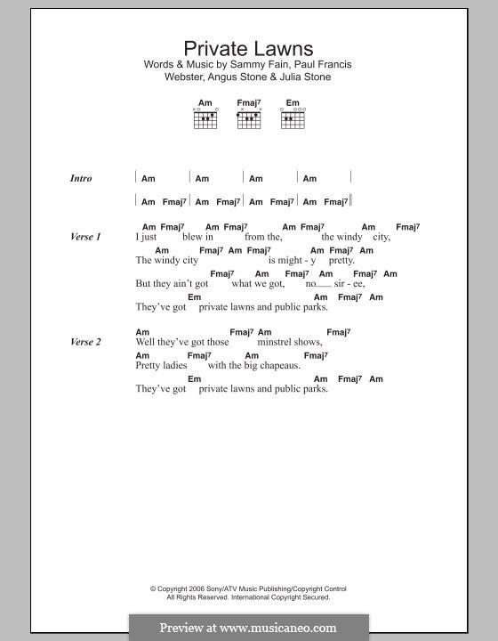 Private Lawns: Letras e Acordes by Angus Stone, Julia Stone