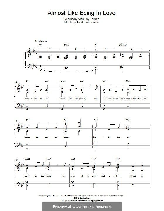 Almost Like Being in Love: Para Piano by Frederick Loewe