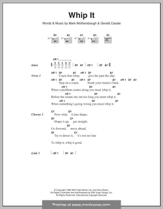 Whip It (Devo): Letras e Acordes by Gerald Casale, Mark Mothersbaugh