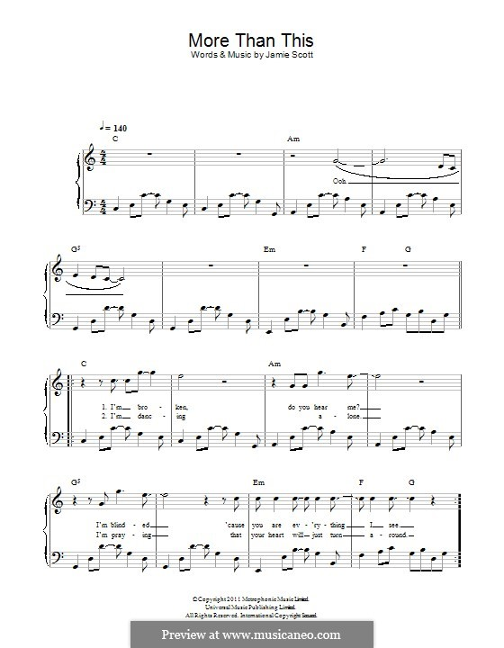 More Than This (One Direction): Para Piano by Jamie Scott