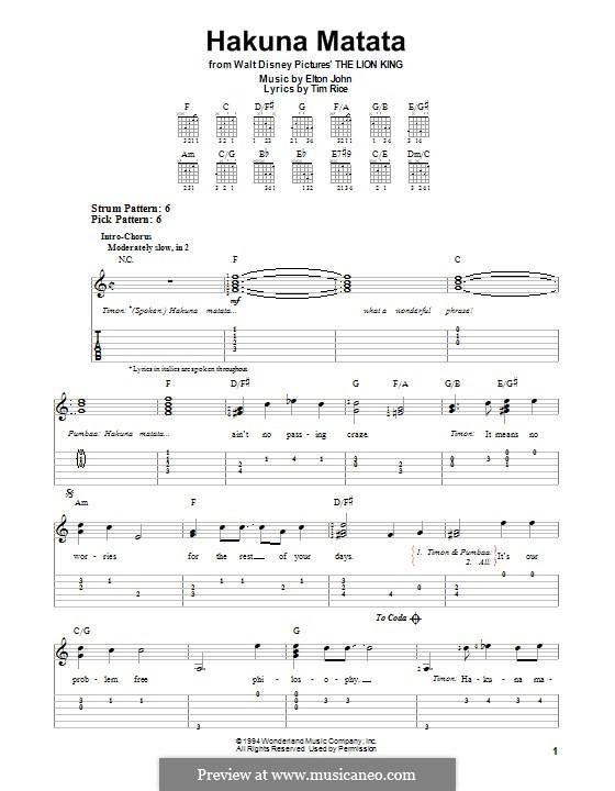 Hakuna Matata (from The Lion King): Para guitarra com guia by Elton John