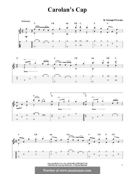 Carolan's Cap: Para guitarra com guia by Turlough O'Carolan