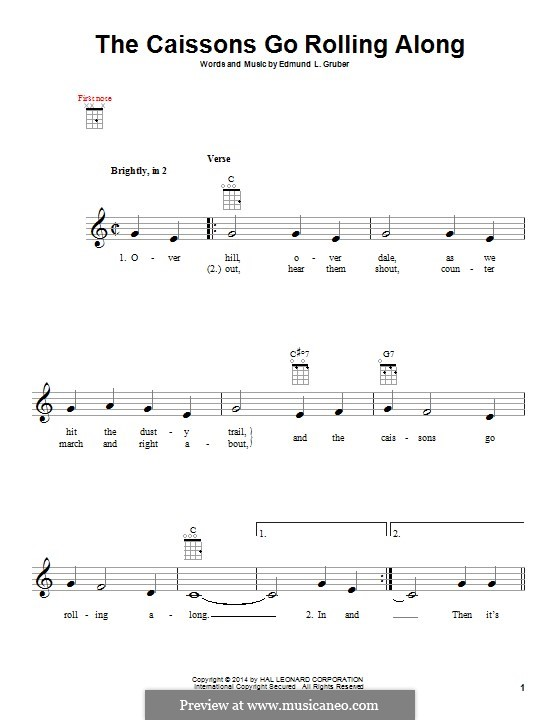 The Caissons Go Rolling Along: para ukulele by Edmund L. Gruber