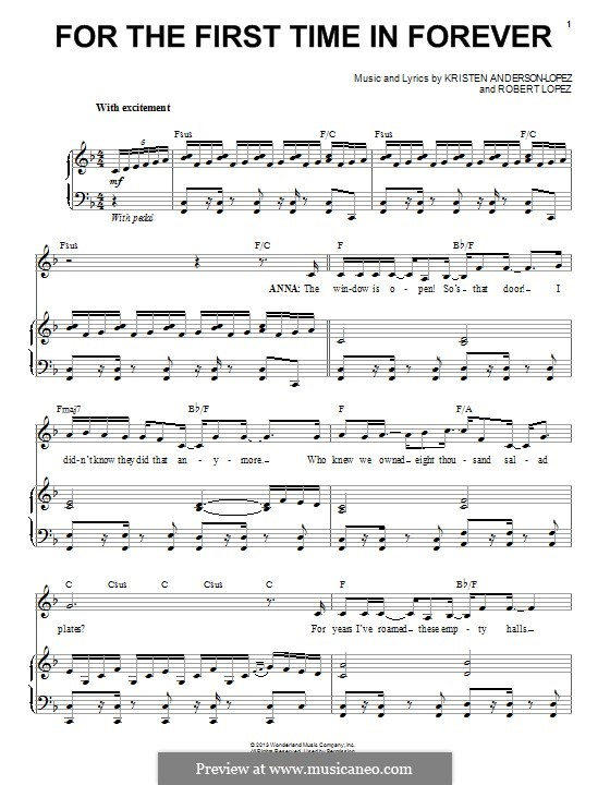 For the First Time in Forever (Kristen Bell & Idina Menzel): Para vocais e piano by Robert Lopez, Kristen Anderson-Lopez