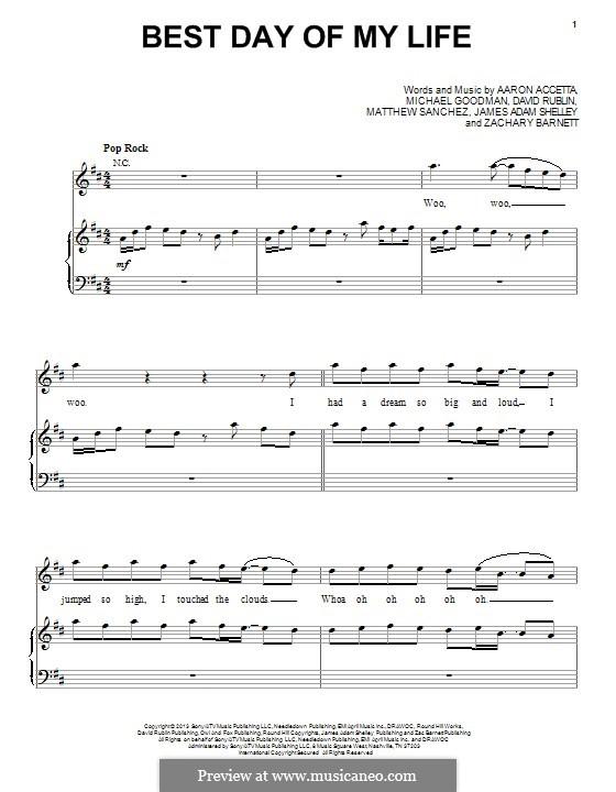 Best Day of My Life: Para vocais e piano (ou Guitarra) by Michael Goodman, Aaron Accetta, David Rublin, James Shelley, Matthew Sanchez, Zachary Barnett